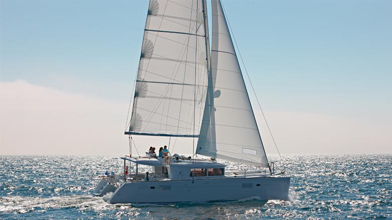 Charter catamaran sailing in Greece