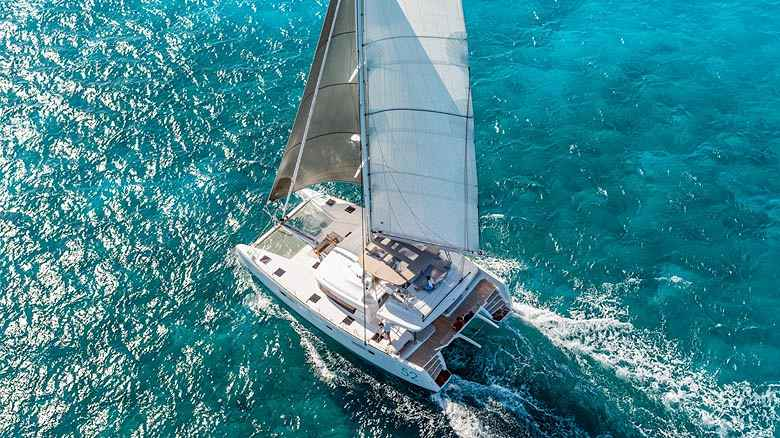 Charter catamaran sailing in Malta